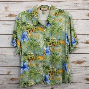Jamaica Bay Button Down Tropical Vacation Blouse